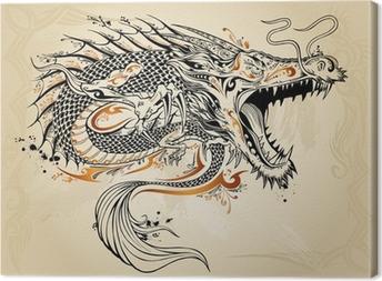 Tableau sur toile Dragon Tattoo Doodle Sketch Vector