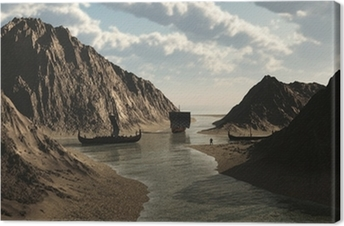 Tableau sur toile Drakkars vikings en islandais Inlet