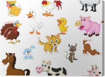 Tableau sur toile Drôles d'animaux de la ferme fixés