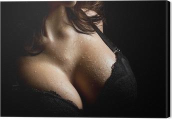 Tableau sur toile Du sein humide en soutien-gorge