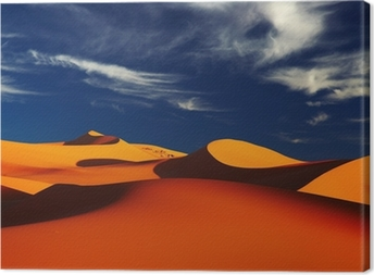 Tableau sur toile Dune de sable dans le désert du Sahara au coucher du soleil, Tadrart, Algérie