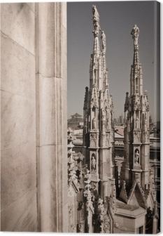 Tableau sur toile Duomo de Milan Italie - flèches de détail de toit