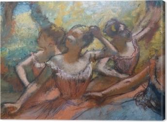 Tableau sur toile Edgar Degas - Quatre danseurs sur scène