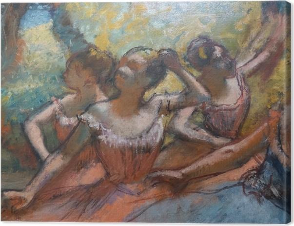Tableau sur toile Edgar Degas - Quatre danseurs sur scène - Reproductions