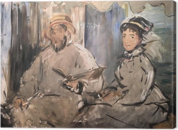 Tableau sur toile Édouard Manet - Claude Monet peignant dans son atelier - Reproductions