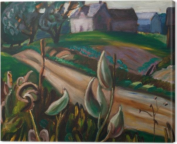 Tableau sur toile Efa Prudence Heward - Route de campagne avec bâtiments agricoles et asclépiade - Reproductions