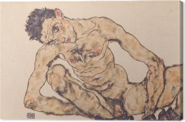 Tableau sur toile Egon Schiele - Autoportrait nu - Reproductions