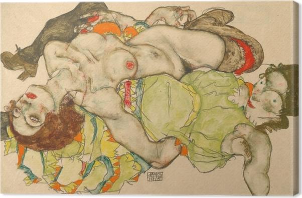 Tableau sur toile Egon Schiele - Couple de femmes amoureuses - Reproductions