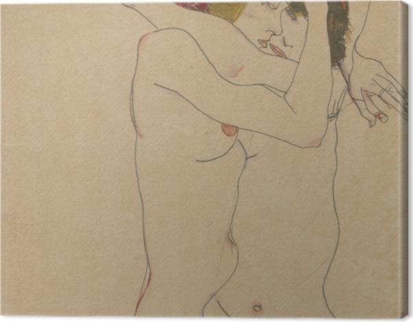 Tableau sur toile Egon Schiele - Deux femmes s'embrassant - Reproductions