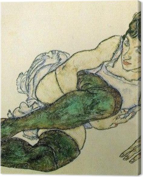 Tableau sur toile Egon Schiele - Femme allongée aux bas verts - Reproductions