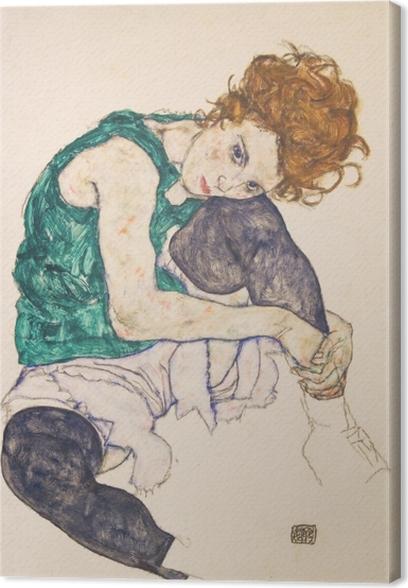 Tableau sur toile Egon Schiele - Femme assise genoux plié - Reproductions