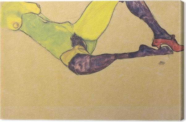 Tableau sur toile Egon Schiele - Femme aux bas bleus - Reproductions