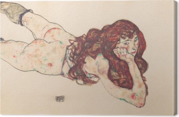 Tableau sur toile Egon Schiele - Femme nue couchée sur le ventre - Reproductions