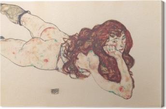 Tableau sur toile Egon Schiele - Femme nue couchée sur le ventre