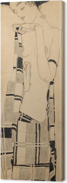 Tableau sur toile Egon Schiele - Fille debout dans le chiffon quadrillé - Reproductions