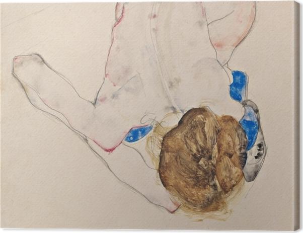 Tableau sur toile Egon Schiele - Jeune fille pliée en avant aux bas bleus - Reproductions