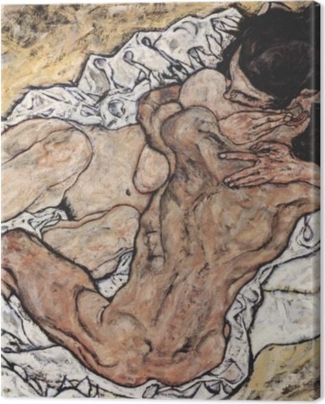 Tableau sur toile Egon Schiele - L'Étreinte (couple d'amoureux II) - Reproductions