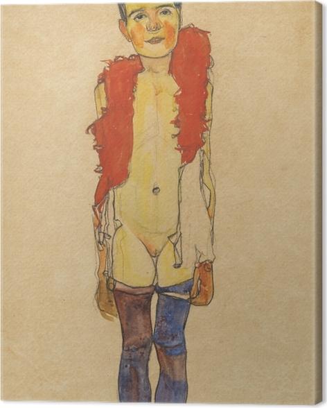 Tableau sur toile Egon Schiele - Une fille avec boa - Reproductions