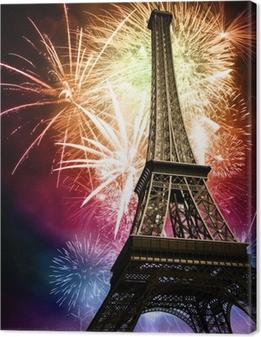 Tableau sur toile Eiffel feux d'artifice