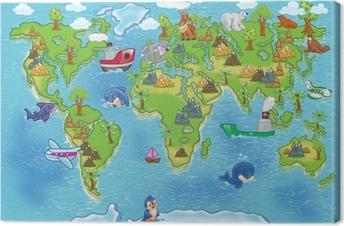 Tableau sur Toile Enfants carte du monde