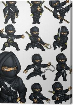 Tableau sur toile Ensemble de 11 Ninja pose dans un costume noir