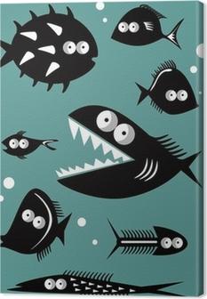 Tableau sur toile Ensemble de poissons drôles