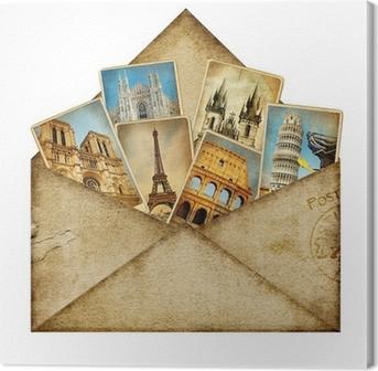 Tableau sur toile Enveloppe vintage avec des cartes de voyage