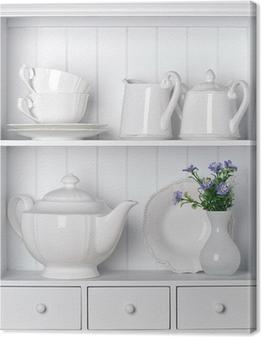 Tableau sur toile Étagère blanche avec vaisselle en porcelaine millésime
