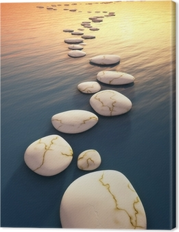 Tableau sur toile Étape pierres coucher du soleil