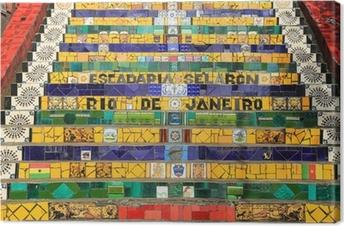 Tableau sur toile Étapes carrelés à Lapa à Rio de Janeiro au Brésil