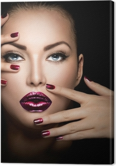 Tableau sur toile Fashion model visage de fille, beauté, femme, maquillage et manucure