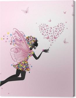 Tableau sur toile Fée avec un valentine de papillons