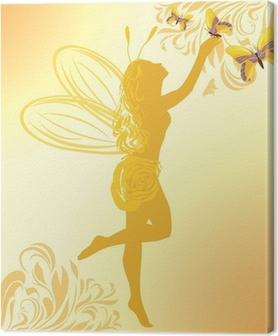 Tableau sur toile Fée et papillons sur un fond jaune