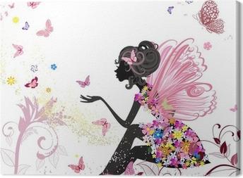 Tableau sur toile Fée Fleur dans l'environnement de papillons