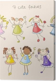 Tableau sur toile Fées mignonnes illustrations