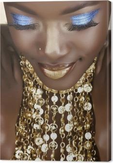 Tableau sur toile Femme africaine avec de l'or