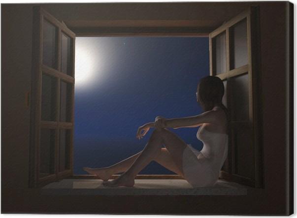 tableau sur toile femme assise sur rebord de fen tre dans. Black Bedroom Furniture Sets. Home Design Ideas