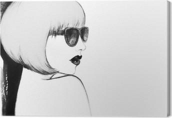 Tableau sur Toile Femme avec des lunettes. illustration d'aquarelle