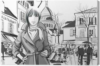 Tableau sur toile Femme en place Montmartre