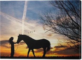 Tableau sur toile Femme et le cheval
