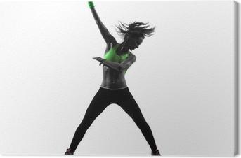 Tableau sur toile Femme exerçant Zumba Fitness silhouette de danse