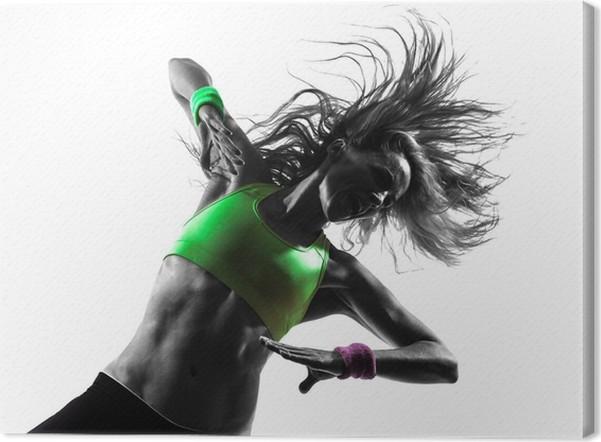Tableau sur toile Femme exerçant Zumba Fitness silhouette de danse ... 56bbbf9abb8