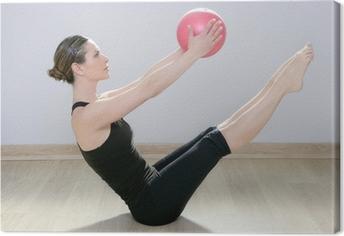 Tableau sur toile Femme pilates stabilité ballon de fitness salle de gym yoga