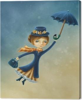 Tableau sur toile Femme volant avec un parapluie