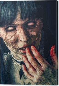 Tableau sur toile Femme zombie effrayant avec les yeux sanglants