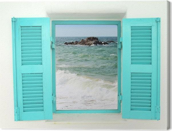 tableau sur toile fen tre de style grec avec vue sur la mer pixers nous vivons pour changer. Black Bedroom Furniture Sets. Home Design Ideas