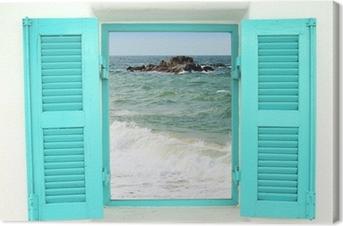Tableau sur toile Fenêtre de style grec avec vue sur la mer