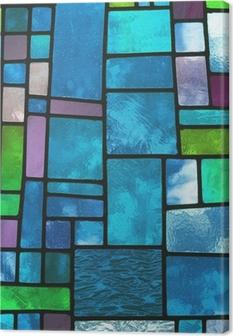 Tableau sur toile Fenêtre de verre bleu teinté multicolore, format carré