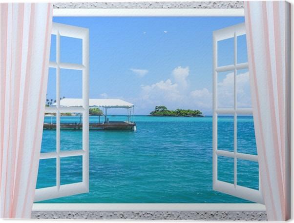 tableau sur toile fen tre ouverte sur la mer pixers nous vivons pour changer. Black Bedroom Furniture Sets. Home Design Ideas