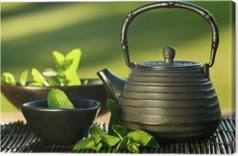 Tableau sur toile Fer noir Théière asiatique avec des brins de menthe pour le thé